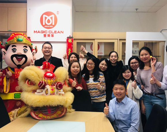 Chinese New Year lion dance and the god of wealth visit 2019